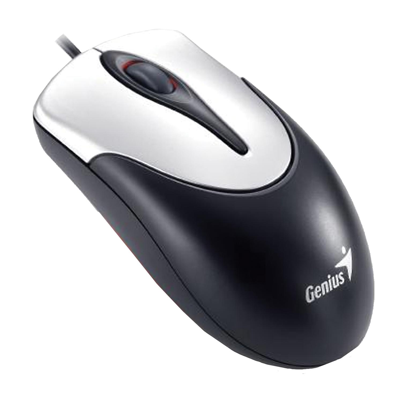 Мышь проводная GENIUS NetScroll 100 V2, USB, 2 кнопки + 1 колесо-кнопка, оптическая, чёрно-серебристая, 31010232100
