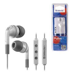 Наушники с микрофоном (гарнитура) DEFENDER Pulse 451, проводная, 1,2 м, вкладыши, для iPhone, белая, 63451