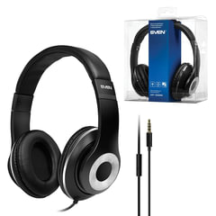 Наушники с микрофоном (гарнитура) SVEN AP-930M, провод 1,3 м, стерео, с оголовьем, черные, SV-013608