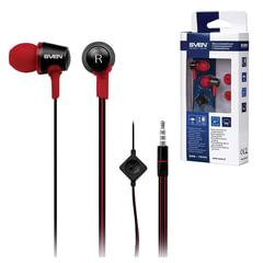 Наушники с микрофоном (гарнитура) вкладыши SVEN SEB-190M, проводная 1,2 м, черные с красным, SV-013035