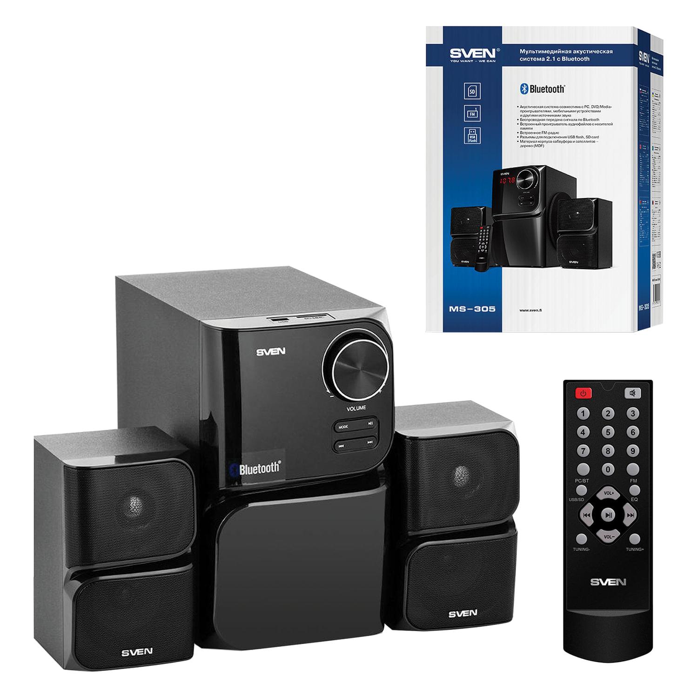 Колонки SVEN MS-305, 2.1, 40 Вт, Bluetooth, дерево, черные, SV-013615