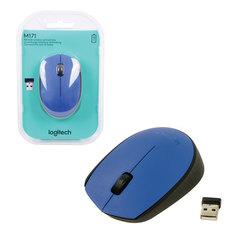 Мышь беспроводная LOGITECH M171, 2 кнопки + 1 колесо-кнопка, оптическая, синяя, 910-004640