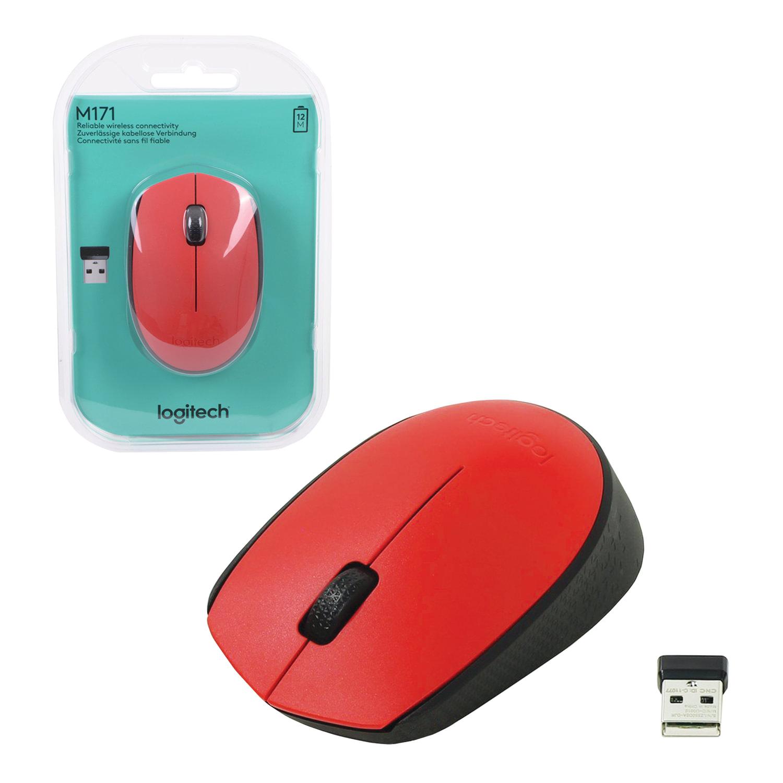 Мышь беспроводная LOGITECH M171, 2 кнопки + 1 колесо-кнопка, оптическая, красная, 910-004641