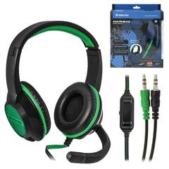 Наушники с микрофоном (гарнитура) DEFENDER Warhead G-200, проводные, 2 м, стерео, чёрно-зелёные