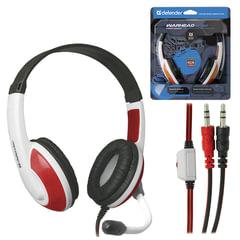 Наушники с микрофоном (гарнитура) DEFENDER Warhead G-120, проводные, 2 м, стерео, бело-красные, 64098