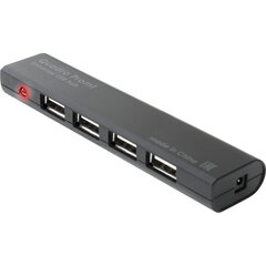 Хаб DEFENDER Quadro Promt, USB 2.0, 4 порта, порт для питания, черный, 83200