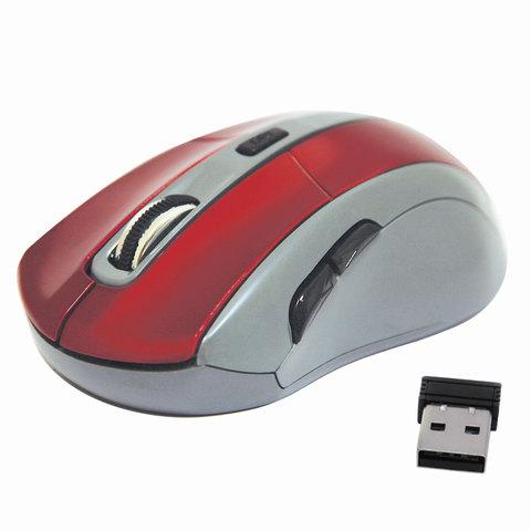 Мышь беспроводная DEFENDER ACCURA MM-965, USB, 5 кнопок + 1 колесо-кнопка, оптическая, красно-серая