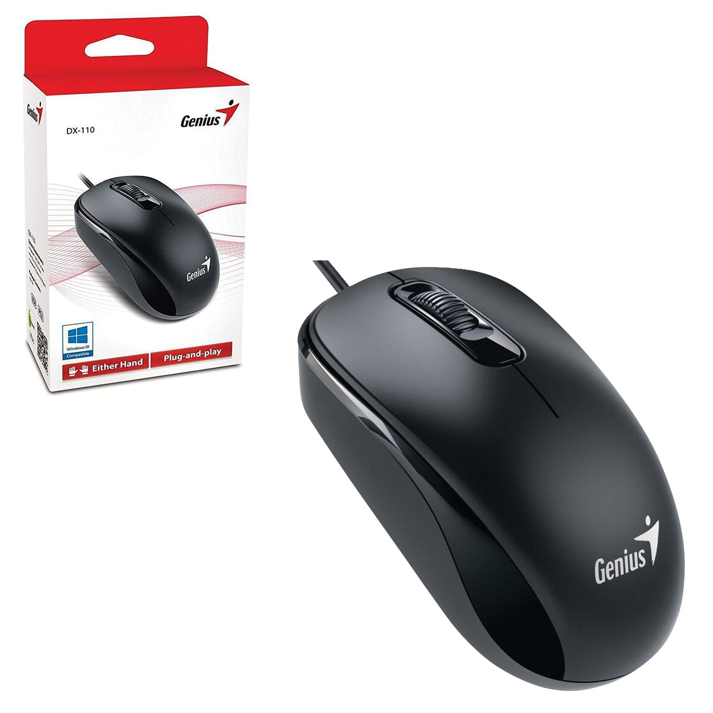 Мышь проводная GENIUS DX-110, USB, 2 кнопки + 1 колесо-кнопка, оптическая, чёрная
