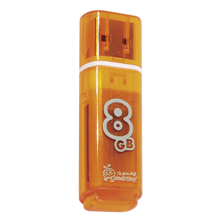 Флеш-диск 8 GB, SMARTBUY Glossy, USB 2.0, оранжевый, SB8GBGS-Or