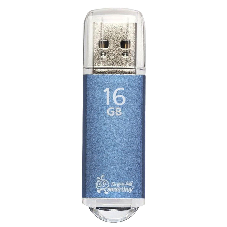 Флеш-диск 16 GB, SMARTBUY V-Cut, USB 2.0, металлический корпус, синий, SB16GBVC-B
