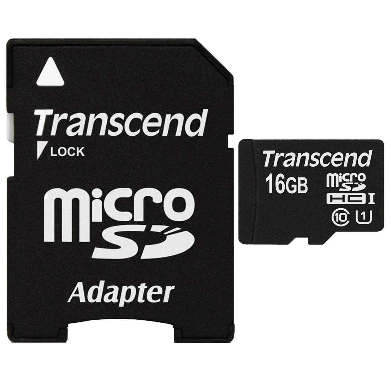 Карта памяти micro SDHC, 16 GB, TRANSCEND Premium 300x, UHS-I U1, 45 Мб/сек. (class 10), TS16GUSDU1