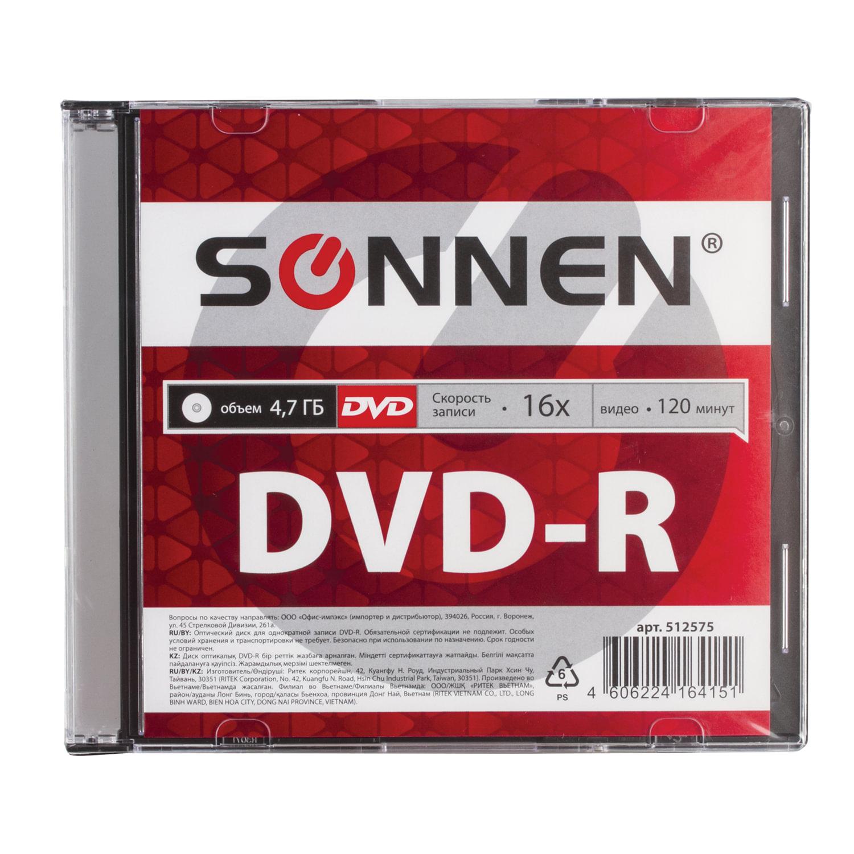 Диск DVD-R SONNEN, 4,7 Gb, 16x, Slim Case (1 штука), 512575