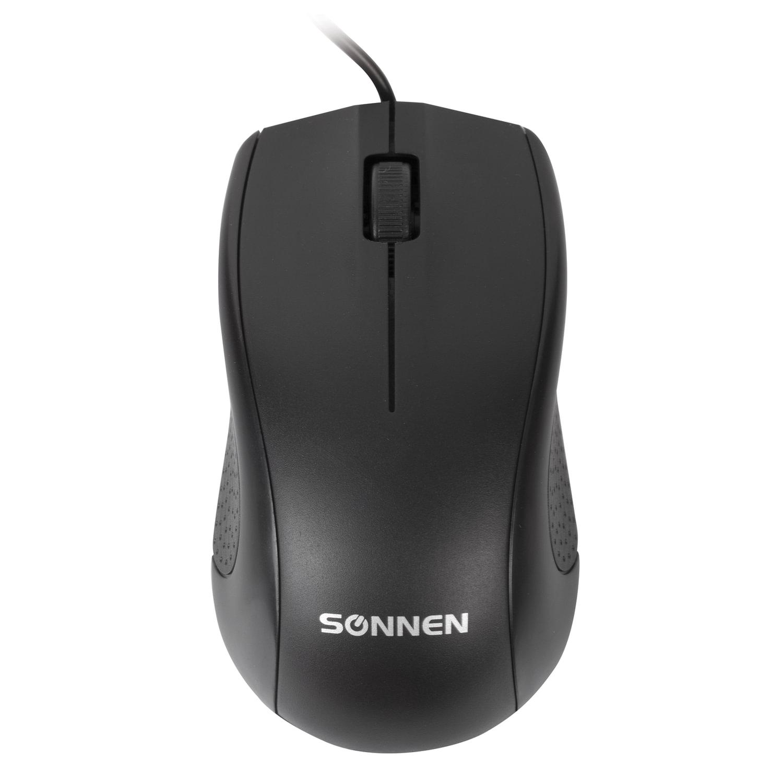Мышь проводная SONNEN М-201, USB, 1000 dpi, 2 кнопки + колесо-кнопка, оптическая, черная, 512631