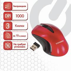 Мышь беспроводная SONNEN M-661R, USB, 1000 dpi, 2 кнопки + 1 колесо-кнопка, оптическая, красная, 512649