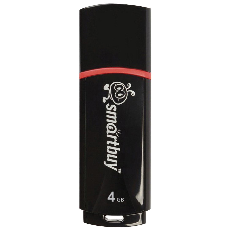 Флеш-диск 4 GB, SMARTBUY Crown, USB 2.0, черный, SB4GBCRW-K
