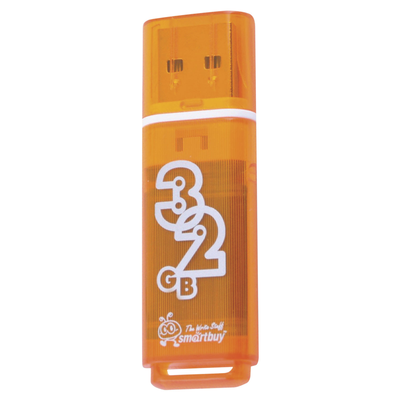 Флеш-диск 32 GB, SMARTBUY Glossy, USB 2.0, оранжевый, SB32GBGS-Or