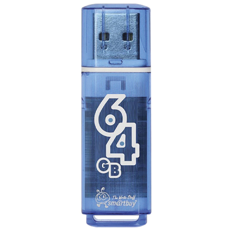 Флеш-диск 64 GB, SMARTBUY Glossy, USB 2.0, синий, SB64GBGS-B