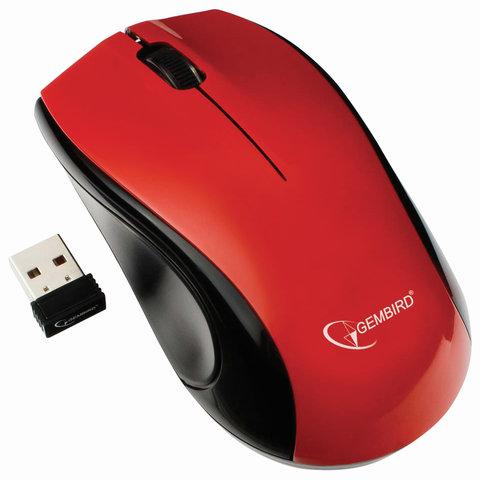 Мышь беспроводная GEMBIRD MUSW-320-R, 2 кнопки + 1 колесо-кнопка, красная