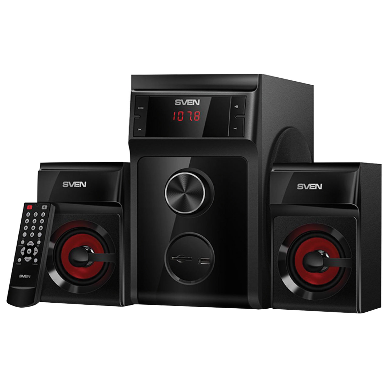 Колонки компьютерные SVEN AC MS-302, 2.1, 40 Вт, FM-тюнер, USB, SD, MP3-плеер, дерево, черные, SV-013554