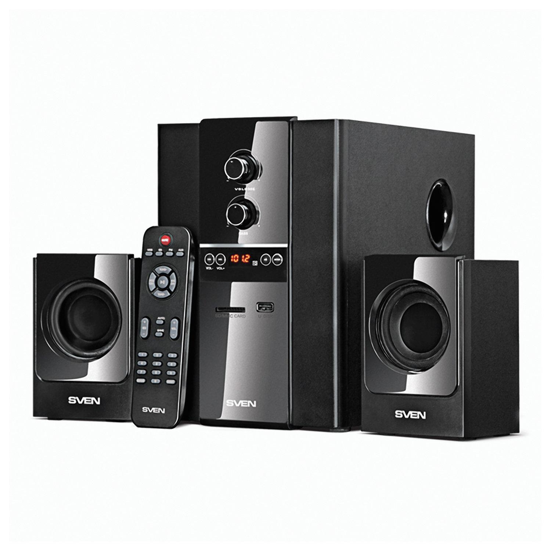 Колонки компьютерные SVEN MS-1820, 2.1, 40 Вт, FM-тюнер, USB, SD, MP3-плеер, дерево, черные, SV-01301820BK