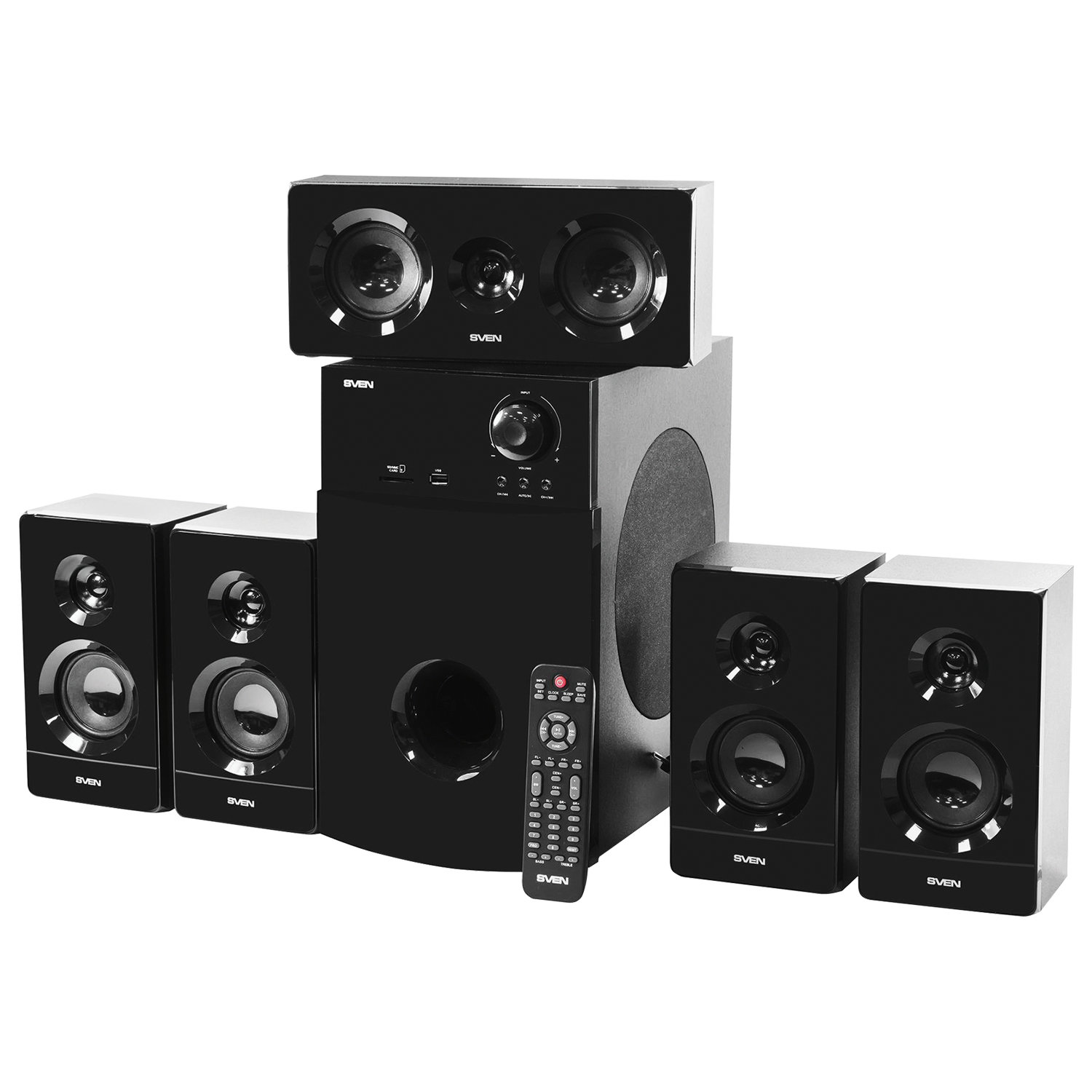 Колонки компьютерные SVEN HT-210, 5.1, 125 Вт, Bluetooth, Optical, Coaxial, FM, дерево, черные, SV-014124