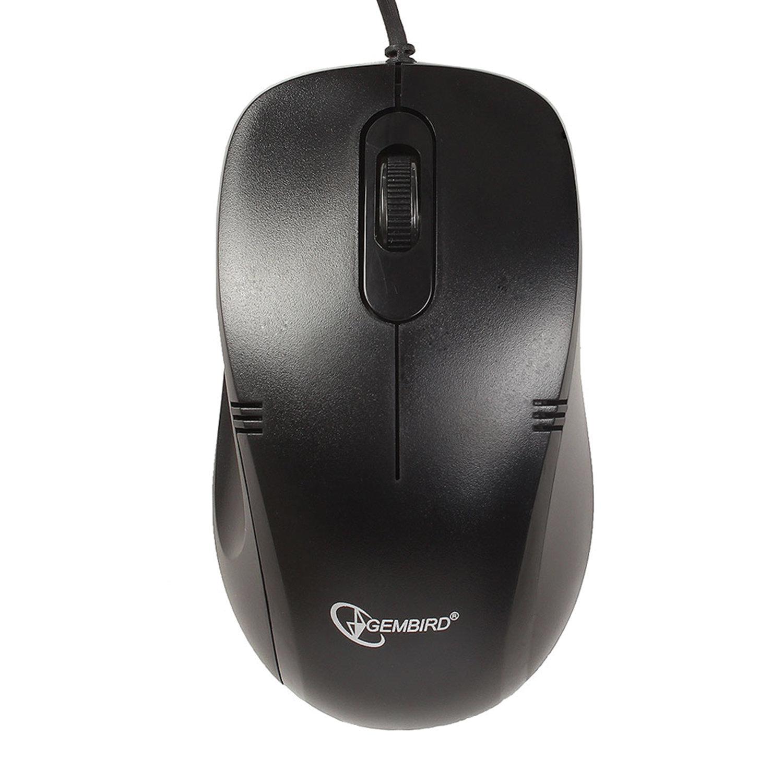 Мышь проводная GEMBIRD MOP-100, USB, 2 кнопки + 1 колесо-кнопка, оптическая, чёрная