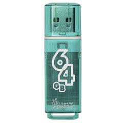 Флеш-диск 64 GB SMARTBUY Glossy USB 2.0, зеленый, SB64GBGS-G
