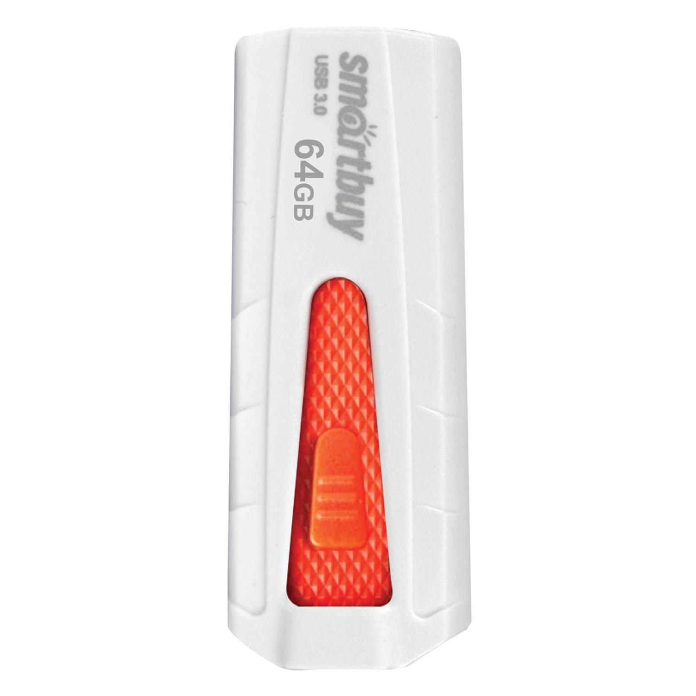 Флеш-диск 64 GB SMARTBUY Iron USB 3.0, белый/красный, SB64GBIR-W3