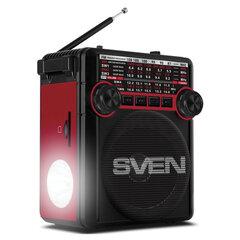 Радиоприёмник SVEN SRP-355, 3 Вт, FM/AM/SW, USB, microSD и SD, пластик, черный/красный