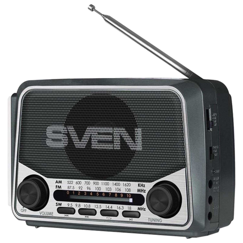 Радиоприёмник SVEN SRP-525, 3 Вт, FM/AM/SW, USB, microSD, аккумулятор, 150-20000 Гц, черный