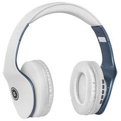 Наушники с микрофоном (гарнитура) DEFENDER FREEMOTION B525, Bluetooth, беспроводные, белые с синим