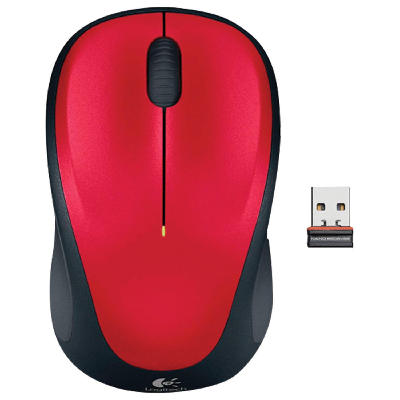 Мышь беспроводная LOGITECH M235, 2 кнопки+1 колесо-кнопка, оптическая, красно-чёрная, 910-002496