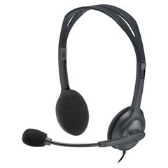 Наушники с микрофоном (гарнитура) LOGITECH H111, проводные, 1,8 м, с оголовьем, серебристые, 981-000593