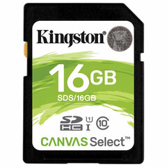Карта памяти SDHC 16 GB KINGSTON Canvas Select UHS-I U1, 80 Мб/сек (class 10), SDS/16G
