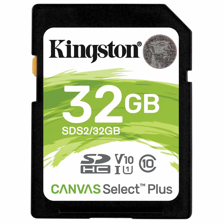 Карта памяти SDHC 32GB KINGSTON Canvas Select Plus UHS-I U1, 100 Мб/сек (class 10), SDS2/32GB