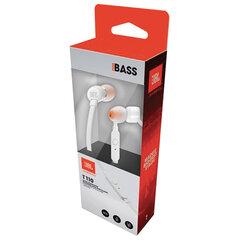 Наушники с микрофоном (гарнитура) JBL T110 WHT, проводные, 1,2 м, вкладыши, стерео, белые