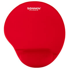 Коврик для мыши с подушкой под запястье SONNEN, полиуретан + лайкра, 250х220х20 мм, красный, 513301