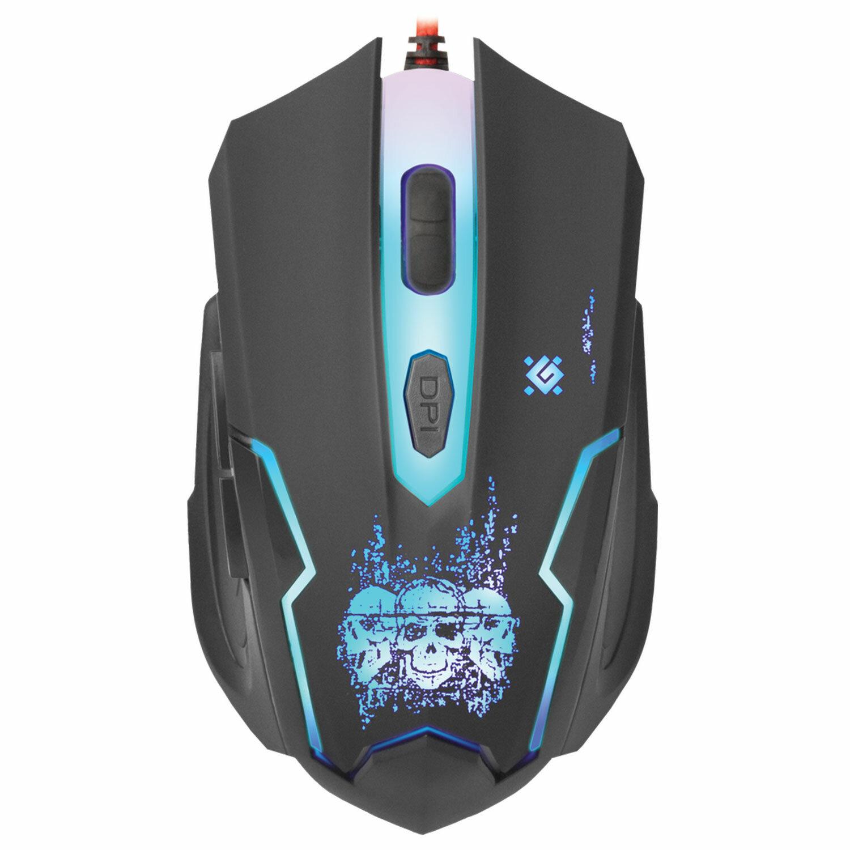 Мышь проводная игровая DEFENDER Skull GM-180L, USB, 5 кнопок + 1 колесо-кнопка, оптическая, черная