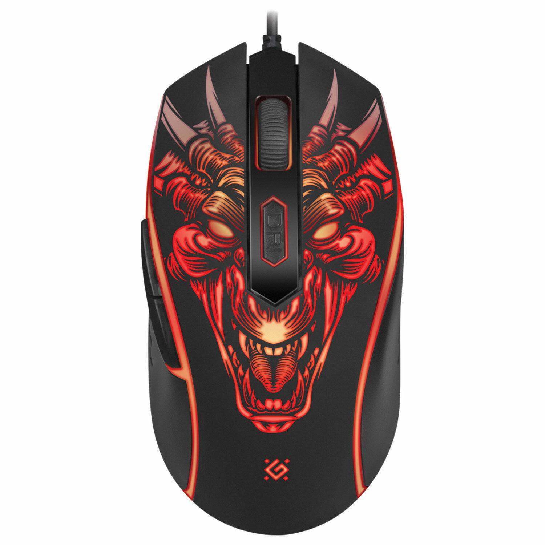 Мышь проводная игровая DEFENDER Monstro GM-510L, USB, 5 кнопок + 1 колесо-кнопка, оптическая, черная