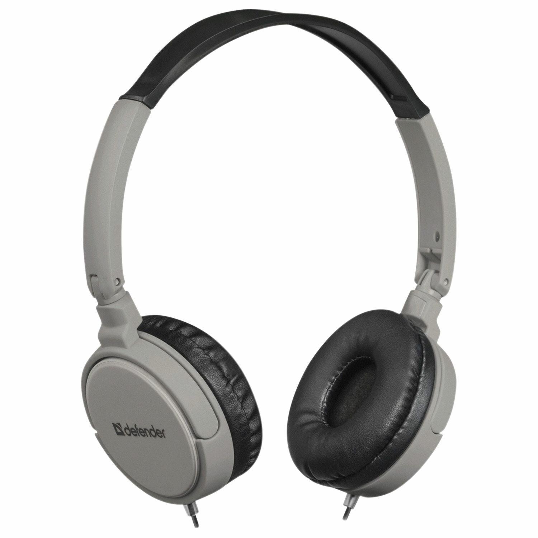 Наушники с микрофоном (гарнитура) DEFENDER Accord 160, проводные, 1,2 м, с оголовьем, черные с серым
