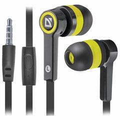 Наушники с микрофоном (гарнитура) вкладыши DEFENDER Pulse 420, проводные, 1,2 м, вкладыши, черные с желтым