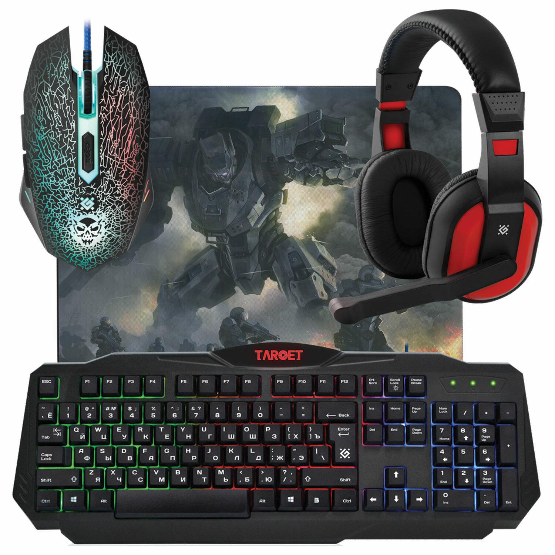 Набор проводной игровой DEFENDER Target MKP-350, USB, клавиатура, мышь 5 кнопок+1 колесо-кнопка, гарнитура, коврик