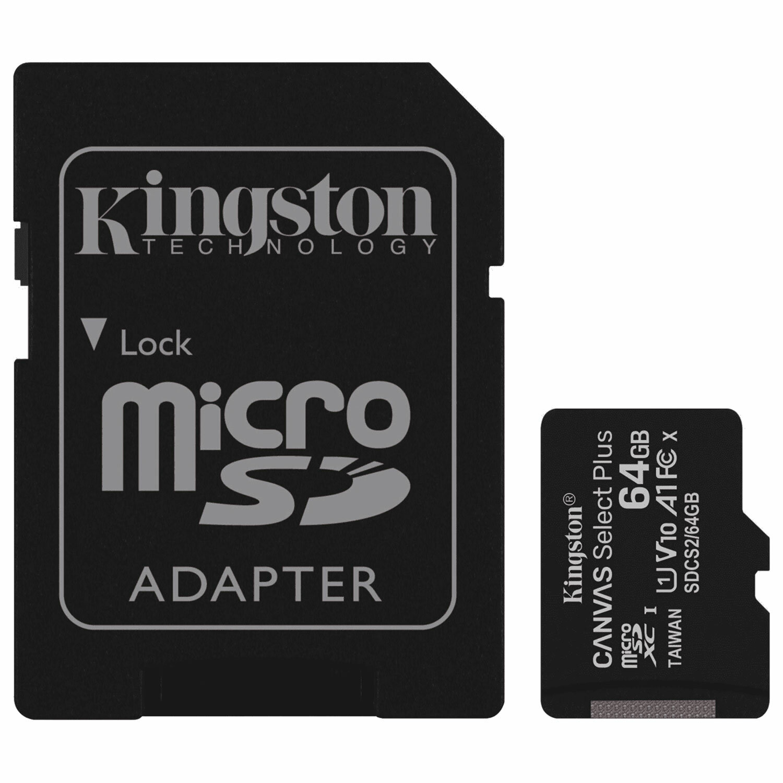 Карта памяти microSDXC 64 GB KINGSTON Canvas Select Plus, UHS-I U1, 100 Мб/с (class 10), адаптер, SDCS2/64GB