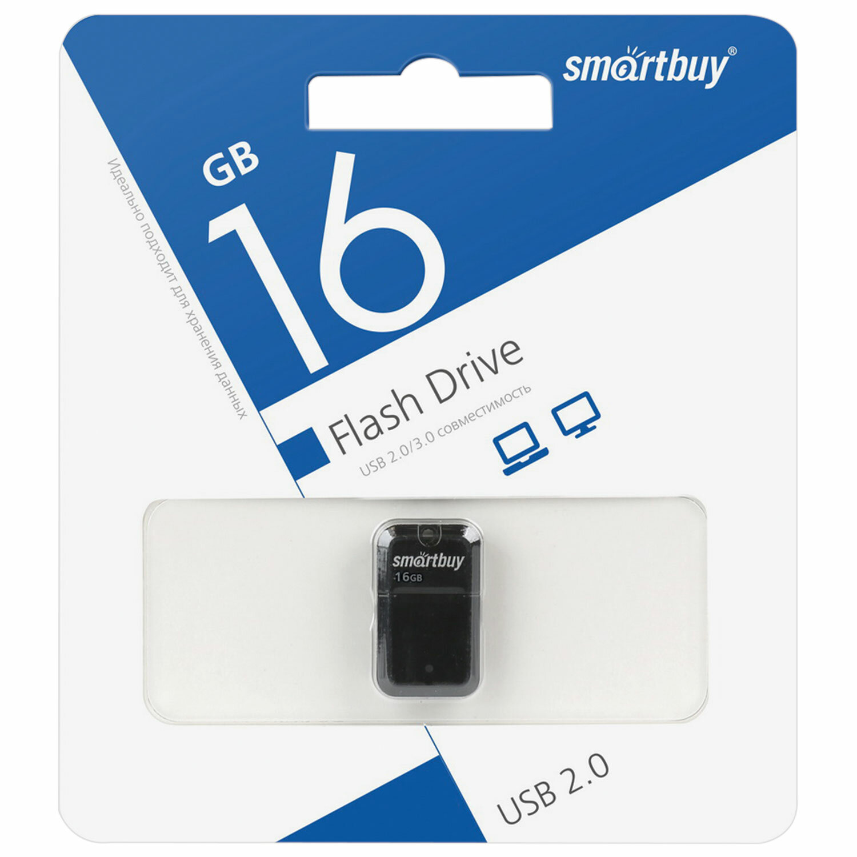 Флеш-диск 16 GB, SMARTBUY Art, USB 2.0, черный, SB16GBAK