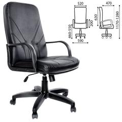 """Кресло офисное """"Менеджер"""", кожа, монолитный каркас, черное К-01"""
