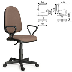 """Кресло """"Престиж"""", регулируемая спинка, с подлокотниками, коричневое"""