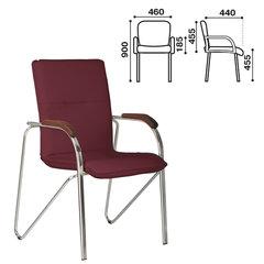 """Кресло для приемных и переговорных """"Samba"""" (дерево 1.023), хромированный каркас, кожзам бордовый V-25"""