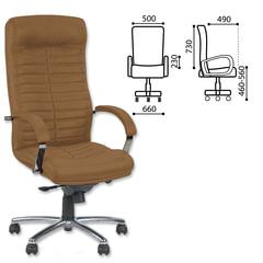 "Кресло офисное ""Orion steel chrome"", кожа, хром, коричневое"