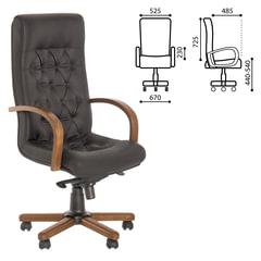 """Кресло офисное """"Fidel extra"""", кожа, дерево, черное"""