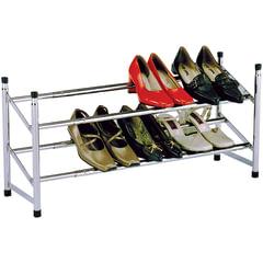 Полка для обуви SR-0222, 630-1200х230х350 мм, 2 полки, регулируемая, металл, хром